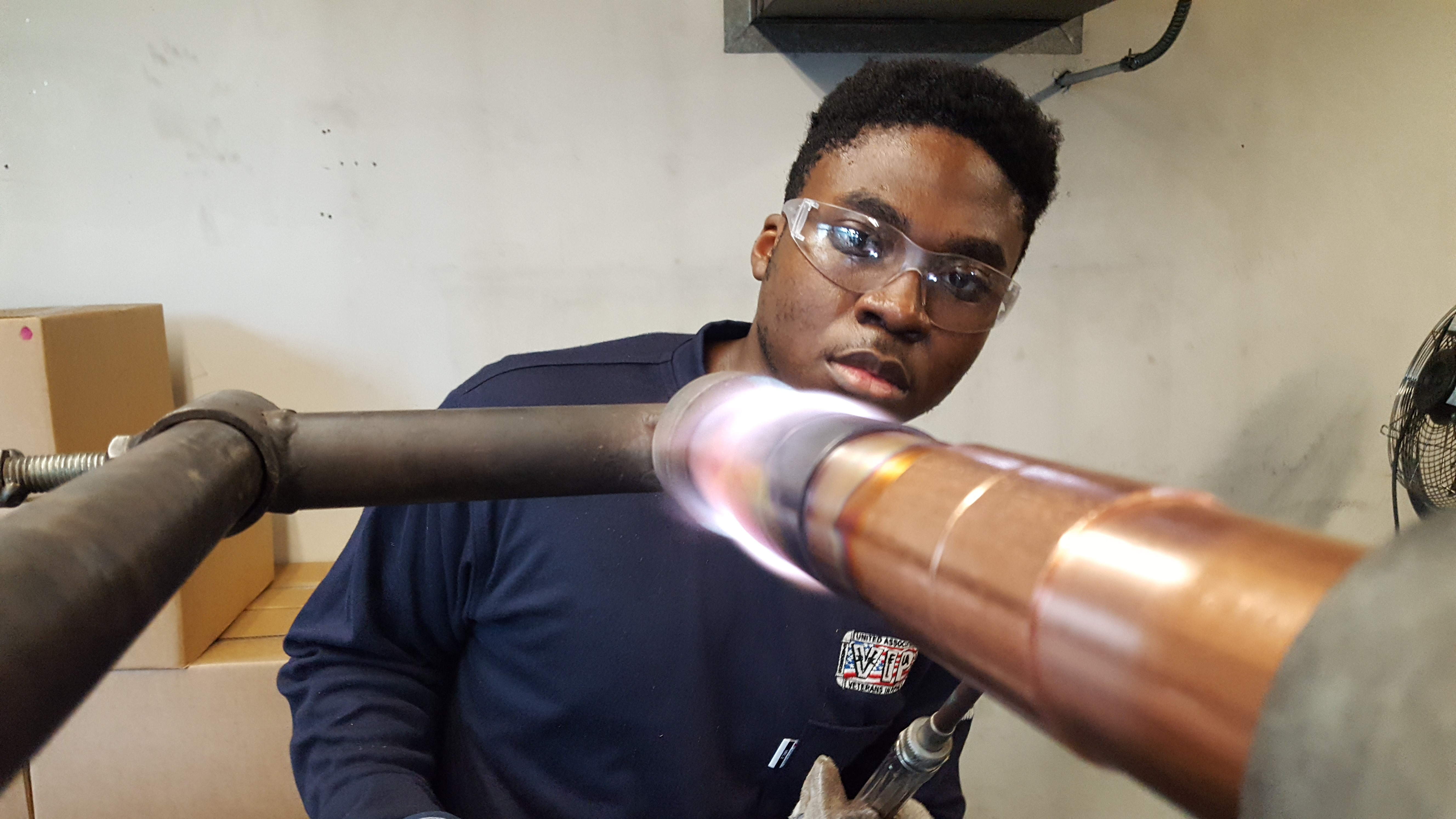 UA VIP member Kennith Smalls practices his brazing skills.