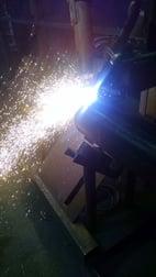 Todd Secor runs the automated wire welding machine.