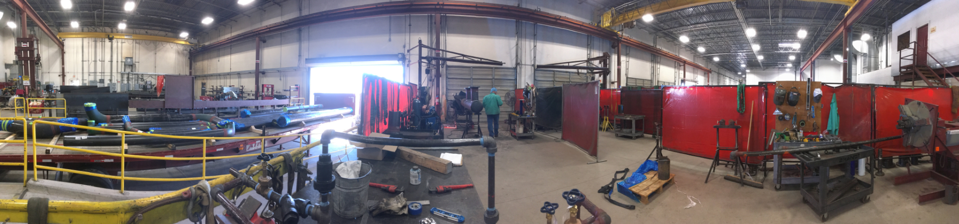 A panoramic view of the Brandt Fab Shop